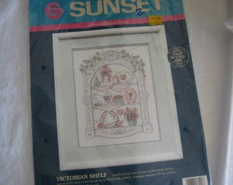 """Vintage (1991) """"Victorian shelf"""", counted cross stitch kit by Sunset"""
