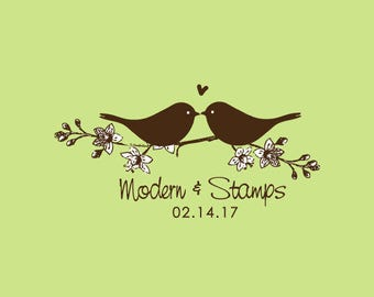 Wedding Stamp   Custom Wedding Stamp   Custom Rubber Stamp   Custom Stamp   Personalized Stamp   Birds in Love Stamp   Love Birds   C396