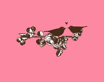 Birds in love Stamp   Love Birds Stamp   Birds in Branch   Wedding Stamp   Rubber Stamp   A123