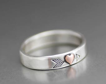 Arrow Ring, Copper Heart Ring, Heart Arrow Ring, Sterling Silver Heart Ring, Stack Ring, Stack Band, Custom Ring, Love Ring, Silver Band