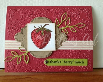 Handmade Greeting Card Red Strawberry Thanks Berry Much