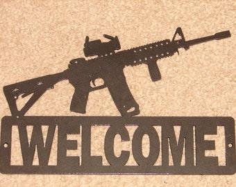 AR 15 WELCOME SIGN Home Decor Wall Gun Semi Auto