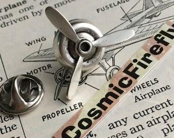Spinning Propeller Tie Tack Pin Clasp Steampunk Pin Silver Propeller Men's Tie Tack MADE In USA