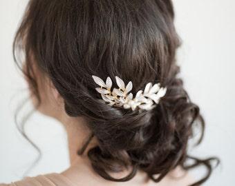 Gold Leaf Hair Comb, Bridal Hair Comb, Gold Wedding Hair Comb, Gold Pearl Hair Comb, Olive Branch Hair Comb