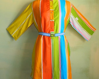 M L 70s Tunic Dress Katherine Ogust for Penthouse Galleries Nehru Collar Citrus Jewel Tone Orange Blue Yellow & Green Stripe Fabric