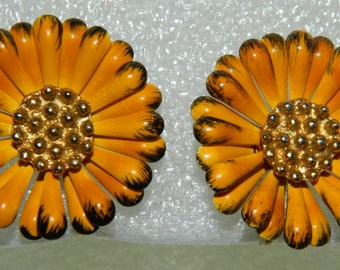 1960s Orange Enamel Daisy or Dahlia Earrings Clip on Earrings Mod Flower Power Earrings Mad Men
