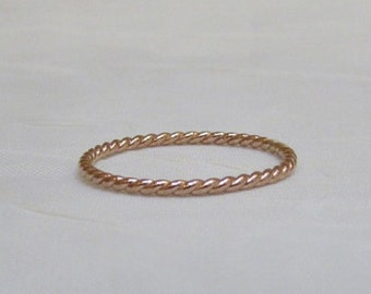 Reduced Solid 10K Rose Gold Twist Ring 10K Stacking Ring Size 7.5 One of a kind sale for this size only