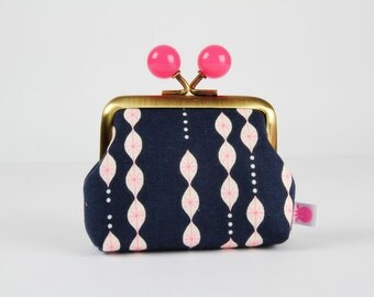 Metal frame coin purse with color bobbles - Lanterns in navy - Color mum / Cotton and Steel / Melody Miller / Jubilee japanese fabric / pink