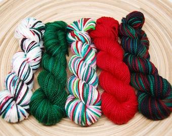 MADE TO ORDER - Christmas Mini Skein Kit -  Acoustic Sock - 400 Yards - Superwash Merino Nylon