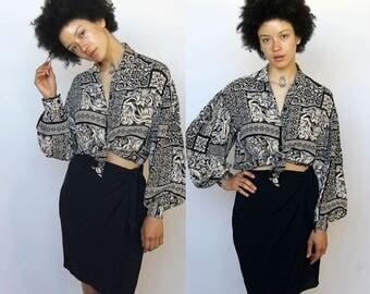 moda int'l -- vintage 80s/90s rayon wrap / button-up dress S/M