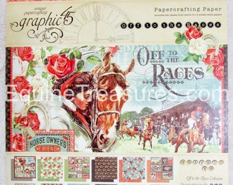 G45 Graphic 45 Off to the Races 8x8 double-sided Paper Pad PaperCrafting Horse Racing Scrapbooking