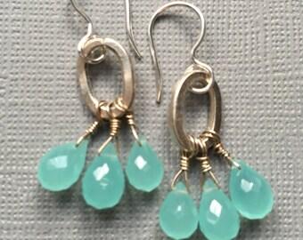 Blue/Green Chalcedony Briolettes- Fine Silver Cluster Earrings
