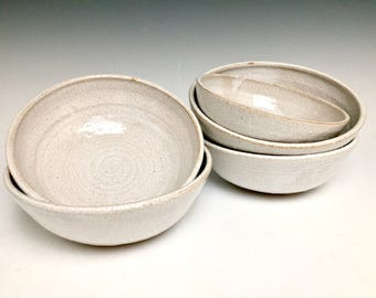 White On Ceramic Stoneware: Ice Cream Bowl, single serving bowl, candy dish, hand-thrown.