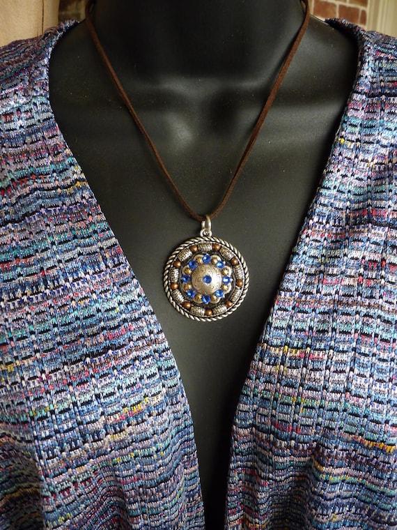 Western Rhinestone Concho Pendant Necklace