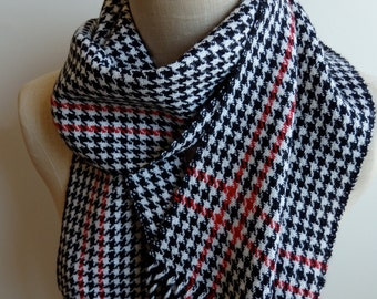 Handwoven Scarf in Sporty Classic Houndstooth Black and White With Red Highlight