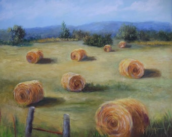 Country Landscape Painting, Round Hay Bales I,Original Oil On 16x20 Canvas by Cheri Wollenberg