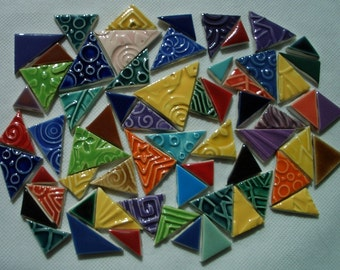63TZ  - 63 pc COLORFUL Stamped TRIANGLES - Ceramic Mosaic Tiles Set