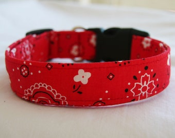 Dog Collar-Red Bandana Print- Adjustable Dog- Pet Collar- Pet Accessories- Supplies Small to Large Breed Dog-5/8- 1 inch 1.5 -2 inch width