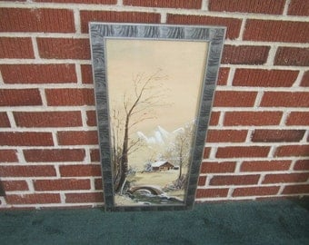 Vintage 1920s Beautiful Signed and Dated 1922 Original Gouache Landscape Painting in Fabulous Frame
