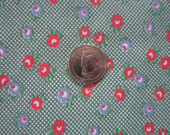 Vintage 1930s/40s Full Cotton Feedsack Feed Sack-Tiny Red Green Blue Floral No.4