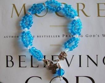 Sale Beth Moore Believing God Bible Study Bracelet, Inspired by Beth Moore Blue Beaded Crystal Bracelet Believing God Bracelet