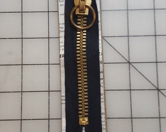 Vintage Black 5 inch heavy metal Zipper with Circle pull
