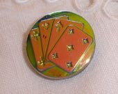 Glass Button with Playing Cards - Carnival Luster Glass Button in mostly Green and Pink