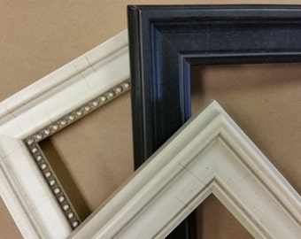 8 x 10, 8.5 x 11 Custom Classic Wood Picture Frames, black and cream