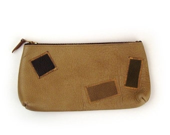 Patchwork leather Clutch Vintage 1960s Pouch Zipper Purse