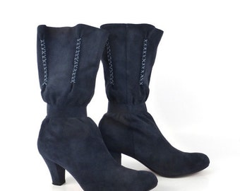 Suede Boots Blue Leather Vintage 1990s Bacarolle Women's size 38