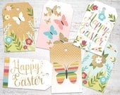 Easter gift tags Happy Easter Gold Glitter, rainbow stripes, and kraft texture with butterflies & flowers 6 assorted printable instant tags