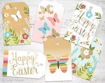Easter gift tags etsy easter gift tags happy easter gold glitter rainbow stripes and kraft texture with butterflies negle Gallery