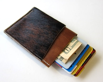 Leather Wallet 3 Triple Pocket - Larger Size - Hair on Hide over Smooth Leather
