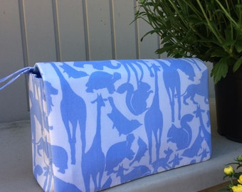 Baby boy diaper bag organizer, animal silhouettes nappy bag, diaper clutch with clear zipper pouch, gift idea for new parents
