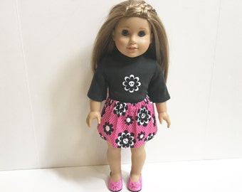18 Inch Doll Clothes for American Girl - 3 Pc Hot Pink and Black Outfit Includes Shoes
