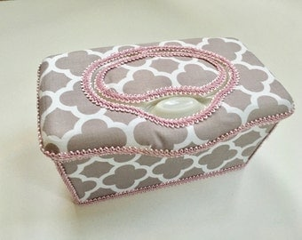 Boutique Flip Top Baby Wipe Tub - Gray And White Quatrefoil Covered Nursery Wipes Box