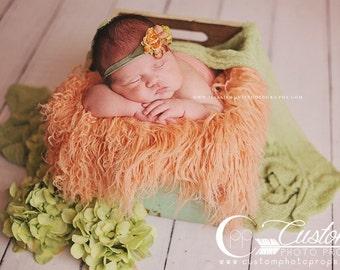 CLEARANCE-Peach Sheep Faux Fur Flokati Newborn Photo Props, Fur, Newborn Baby Photography Props, Basket Stuffer - Baby Girl, Curly Fur Prop