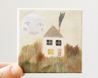 moon house / original painting on canvas