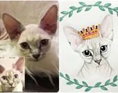5x7 Custom Watercolor Pet Portrait (Cats)