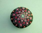 Mandala stones etsy-Mothers Day gifts-Bohemian dot art-yoga meditation stone-painted rocks-ooak 3D-neon-dotillism pointillism-red pink glow