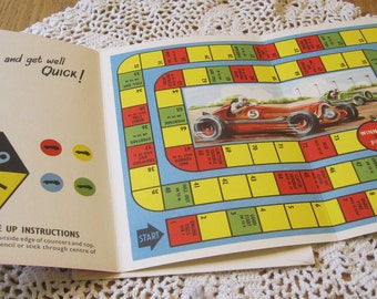 Very Adorable Vintage Get Well Game Card with Race Track and Cat from England