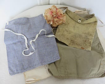 Three Vintage French Cotton Cloth Bags, Handmade Rustic Old French Fishing Bags, Fishing Accessory Bags, French Rustic Country Chic Decor