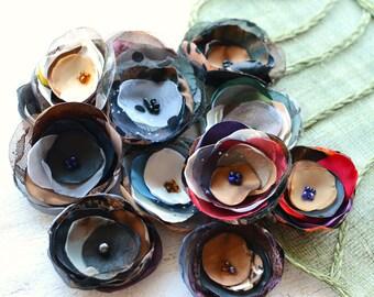 Fabric flowers, applique grab bag , handmade organza appliques, floral embellishments (12 pcs)- Grab Bag in Assorted Colors (mix set 351)