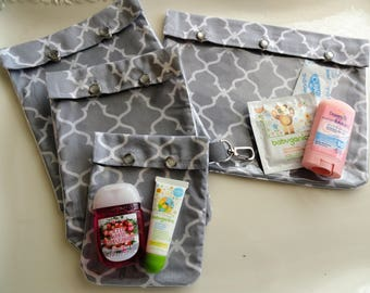 SALE Save 40% (As Is Gray Quatrefoil) Travel Set All 4 Sizes Clear Pouch Pocket Organizers First Aid Meds Cosmetics Diaper Bag TSA Carry On