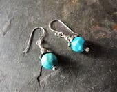 Turquoise Drop Earrings, Artisan Silver Bead Caps, Handmade Silver, Rustic Handcrafted, Bisbee Turquoise, Casual Jewelry, Statement Earrings