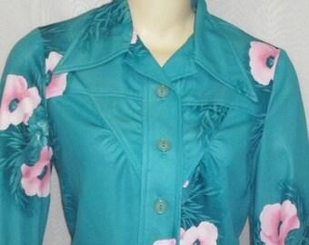 ON SALE Vintage 1970's Joni Blair Dress Floral Western Cut 13