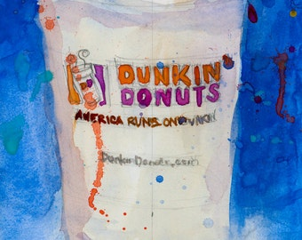 Dunkin Donuts Cup with Blue Background ARCHIVAL PRINT