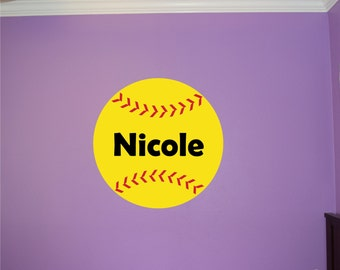 Personalized Softball Wall Decal - Softball Name Decal - Sports Wall Decal - Softball Wall Decal - Girls Wall Decal - Softball Decal