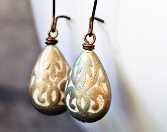 Silver Shimmer Western Teardrop Earrings, Antiqued Bronze
