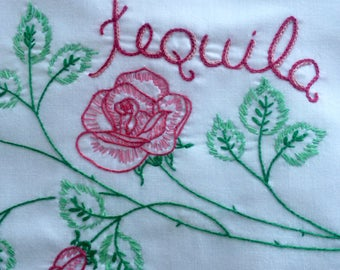 Tequila Dream, Pillowcase, Hand embroidered, OOAK, Boho bedroom, Drinker gift, Vintage, Quirky gift